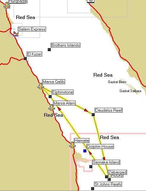 маршрут дайвинг сафари красное море Doudelus, Rocky, Zabargad, Elfinstone