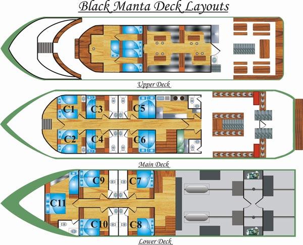 Таиланд дайвинг сафари яхта M/V M/V Black Manta план-схема