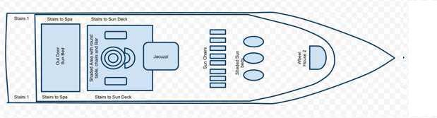 План схема верхней солнечной палубы дайвинг сафари яхта Mozaique
