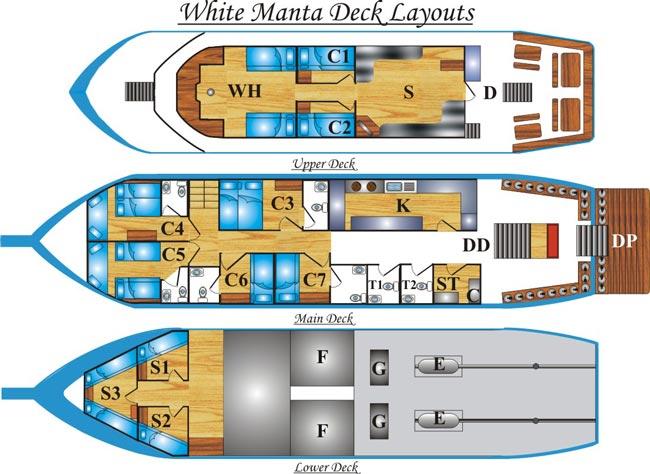 Таиланд дайвинг сафари яхта M/V White Manta план-схема